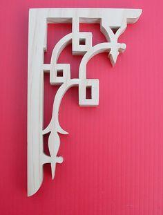 Brackets to frame the posts/ends of the back patio.  https://www.etsy.com/listing/200531659/wood-shelf-brackets-shelf-brackets-porch