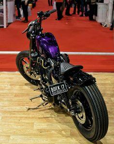 Custom Harleys, Custom Motorcycles, Custom Bikes, Purple Motorcycle, Motorcycle Style, Hd Sportster, Harley Davidson Sportster, Bobber Bikes, Bobber Chopper