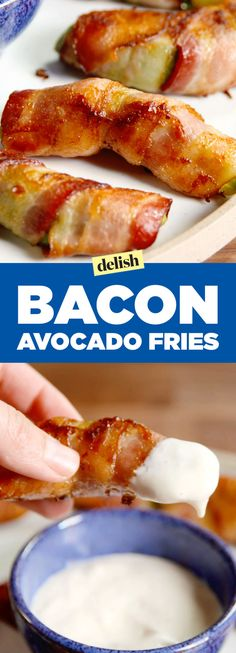 Slice avocados into equally sized wedges. Wrap each wedge in bacon, cutting the bacon if needed. Place the bacon-wrapped avocado wedges on a baking sheet, seam side-down. Bake 12-15 minutes, until the bacon is cooked through and crispy.