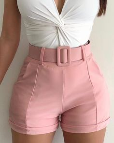 Solid High Waist Casual Shorts pants high waisted pants hareem pants boho pants easy pants palazzo pants outfit pants linen pants wide leg pants skinny pants w Trend Fashion, Fashion Pants, Look Fashion, Fashion Outfits, Womens Fashion, Classy Fashion, Cheap Fashion, Fashion 2017, Fashion Styles