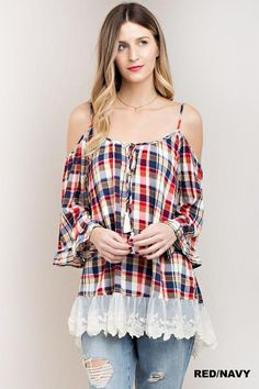 Cold Shoulder Plaid Top With Lace Detail, Top:Casual, Kori America, RKCB - RK Collections Boutique