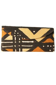 Brown African Print Envelope Purse