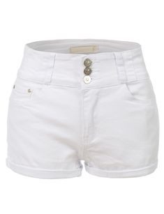 LE3NO Womens Casual High Rise Denim Shorts with Pockets