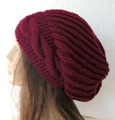 Hand Knit Hat (((My fav 'slouchy-style' hat yet! maybe not the color though, something more neutral))) knit hat Knit Slouchy Hat Beanie for Women accessories oversized knit Chunky Knit Hat Winter Hat Womens Beanie Burgundy Hat Christmas accessories Loom Knitting, Hand Knitting, Knitting Patterns, Knit Crochet, Crochet Hats, Slouchy Hat, Knitted Hats, Winter Hats, Handarbeit