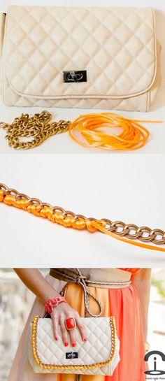 DIY Crimenes de la Moda - Neon chain handbag - bolso fluor con cadena Diy Handbag, Diy Purse, Diy Jewelry Bags, Diy Clothes And Shoes, Handmade Clutch, Diy Fashion, Fast Fashion, Made Clothing, Me Too Shoes
