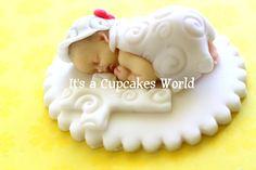 1 Fondant Baby Girl Cake Toper by ItsaCupcakesWorld on Etsy, $16.99