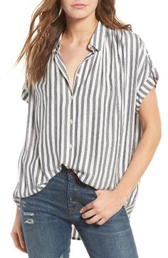 Free shipping and returns on Madewell Central Shirt at Nordstrom.com. Effortlessly drapey and perfect for tucking in front, this easy button-front shirt features wear-with-everything stripes and pretty shirring at the shoulders.