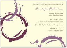 Signature Ecru Bachelorette Party Invitations Wine Bar - Front : Deep Plum