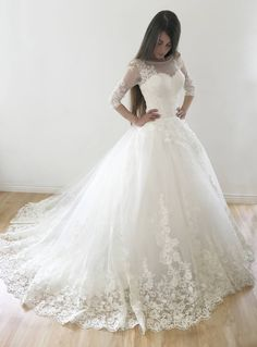 Ball Gown Sleeves Lace Appliques Lace-up Long Wedding Dresses with Sweep Tra.Ball Gown Sleeves Lace Appliques Lace-up Long Wedding Dresses with Sweep Train dentelle design Prom Dress With Train, Tulle Prom Dress, The Dress, Dress Long, Tulle Lace, Tulle Skirts, Pink Tulle, Wedding Dresses For Girls, Bridal Dresses