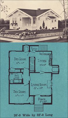 800 square feet Small Cottage Design from 1924 Love this! Perfect little house design! Vintage House Plans, Tiny House Plans, House Floor Plans, Small House Plans Under 1000 Sq Ft, Vintage Homes, Small Cottages, Cabins And Cottages, Small Cabins, Up House