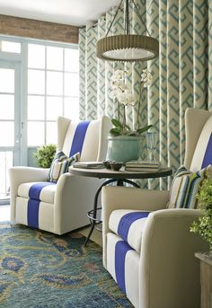 I love the big bold blue stripe on the chairs.Leslie Moore's Porch boasts beautiful blues and greens at the 2013 Adamsleigh Showhouse - Traditional Home® Photo: John Bessler : CR Laine's Copley Swivel Chairs in fabrics by Sunbrella Porches, Feng Shui, Traditional House, Traditional Bedroom, Living Spaces, Living Rooms, Family Rooms, Decoration, Interior Inspiration