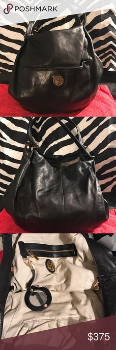 """Authentic Tory Burch hobo bag Like new black soft buttery leather authentic Tory Burch hobo bag. Long shoulder strap's for added comfort beautiful interior with an added mirror. Gold hardware and accents that are all marked with Tory Burch imprinted on hardware as well as all handle pieces. No rips tears stains or holes. Bag has one small pocket in front with snaplock closure. Inside has that one zipper pocket and multiple pockets to contain accessories Dimensions are 14""""  by 12"""" high and 5…"""
