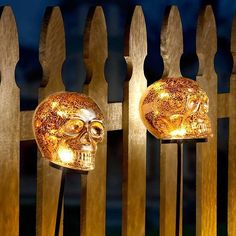 Create a delightfully decorative effect with lighted Halloween skull yard stakes. They light up with 3 cool warm white LEDs and provide 3 different timer functions of 6 hrs. on/18 hrs. off: steady, flash, and fade. Choose the setting that will best set the mood for your spook-tacular holiday.