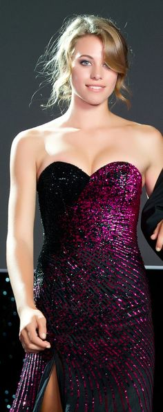 Strathallan Belle of the Ball 2014. Beautiful black gown accentuated with hot pink beading! www.whitedoor.co.nz