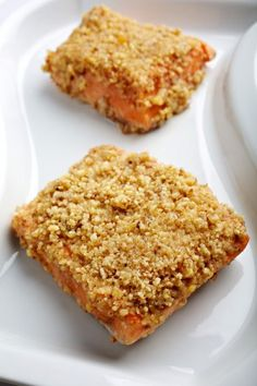 Walnut-Crusted Salmon The Washington Post, February 21, 2013 Local Living  Course: Main Course Features: Fast Summary:  This elegant entree earns a flavor boost from its sweet-tangy sauce and savory walnut crust.  Serve with your favorite vegetable and a whole-grain side, such as asparagus and brown rice.  4 servings  Ingredients:  1/2 cup raw unsalted walnut halves 1 tablespoon honey 1 tablespoon Dijon-style mustard 1/8 teaspoon sea salt 1/4 teaspoon freshly ground black pepper Four 6-ounce…