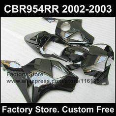 294.50$  Watch now - http://ali1mu.worldwells.pw/go.php?t=32345370725 - Customize glossy black fairings for HONDA CBR 900RR 2002 2003 fireblade CBR 954 RR CBR 900RR 02 03 Compression fairing parts 294.50$