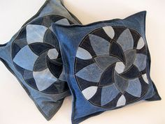 "Salvaged Pillows by Dan at Piece and Press: ""All six of the denim pillows are finished. I'm calling them the Salvaged series, as all the denim and lining are upcycled from worn and washed clothing and linens."""