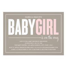 5 x 7 Baby Girl | Baby Shower Invite #zazzle #pregnant #baby #babyshower #expecting #babygirl