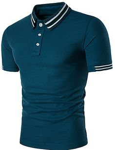 Men Cotton Short Sleeve Slim T Shirt Solid Tops Fashion Button Tops Clothes Polo on Luulla Polo Shirt Outfits, Mens Polo T Shirts, Shirt Men, Mens Casual T Shirts, Camisa Polo, Golf Fashion, Fashion Women, Cotton Shorts, Men Casual