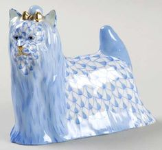 Yorkshire Terrier Herend Hand Painted Porcelain Figurine in Blue Fishnet w Gold Accents.