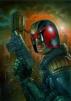 Dredd comic cover -I had never heard of Judge Dredd until my friends mentioned him one day. I wonder if the movie is going to be any good or I'm gonna have to read the comic instead
