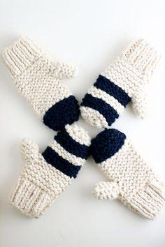 Garter Stitch Chunky Mittens Pattern by flax & twine | Free Knitting pattern