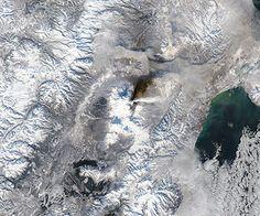 Plume and ash on ground from Kliuchevskoi, Kamchatka