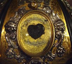 "Holy Relics: The tissue of the 16th century Italian priest Philip Neri, ""The Apostle of Rome"" surrounding his expanding heart (Santa Maria in Vallicella or Chiesa Nuova Church, Rome)"