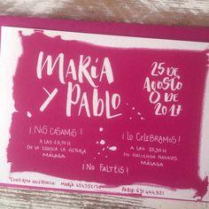 """Invitación de boda """"Rosa fucsia"""" #boda #caligrafia #diseño"""