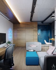 Pink and Blue Decor Studio Apartment with Motivational Wall Art # Design … - Modern Studio Apartments, Studio Apartment Layout, Studio Apartment Decorating, Open Plan Apartment, Grey Bar Stools, Small Floor Plans, Modern Murphy Beds, Industrial Style Lighting, Motivational Wall Art