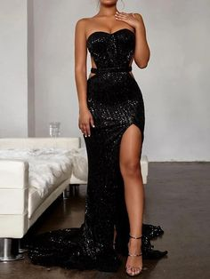 Women's Sexy Paillette Slit Tube top Bare Back Sleeveless Evening Dres – joymanmall black dress prom dress ideas a line formal dress dresses pretty wedding dresses colored a line dress formal Glam Dresses, Backless Prom Dresses, Prom Dresses Online, Strapless Dress Formal, Dress Outfits, Dress Prom, Wedding Dresses, A Line Dress Formal, Formal Gowns