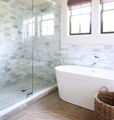 Master Bathroom Inspiration and Ideas - Plank and Pillow Hardwood Floors In Bathroom, Bathroom Flooring Options, Master Bathroom Shower, White Bathroom, Modern Bathroom, Master Bath Remodel, Large Shower, Engineered Hardwood Flooring, Bathroom Interior Design
