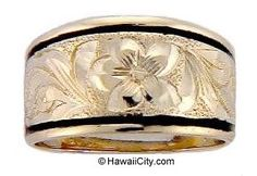 Hawaiian Wedding Ring Hawaiian Heirloom Jewelry Gold Ring from Hawaii Hawaiian Heirloom Jewelry, Hawaiian Jewelry, Custom Wedding Rings, Wedding Bands, 14k Gold Ring, Gold Rings, Hawaiian Wedding Rings, Hawaiian Fashion, Ring Tattoos