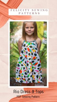 The Rio Dress & Tops PDF sewing pattern by Felicity Patterns is the perfect summer dress, plus the pattern has several top versions included. Sizes 4 to 14 years.