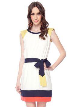Block Party Fit Dress in Cream $52 at www.tobi.com