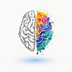 Bright Left and right hemisphere of human brain vector art illustration Arte Com Grey's Anatomy, Anatomy Art, Brain Painting, Brain Vector, Brain Tattoo, Brain Illustration, Brain Art, Science Art, Science Space