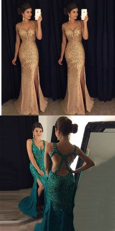 Prom Dress 2017,Beading Emerald Green Prom Dress, Backless Prom Dress,Long Prom Dress,Sexy Mermaid Side Split Gold Evening Party Gown