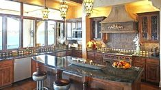 15 Stunning Mediterranean Kitchen Designs Home Design Lover Mediterranean Kitchen Cabinets, Mediterranean Home Decor, Kitchen Hood Design, Kitchen Designs, Home Design, Design Ideas, Interior Design, Kitchen Interior, Kitchen Decor