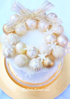 You will love this elegant truffle ornament wreath cake tutorial!