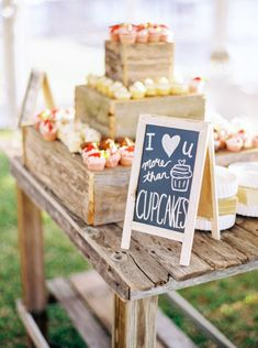 I love you more than cupcakes: http://www.stylemepretty.com/texas-weddings/conroe/2015/06/04/rustic-lakeside-backyard-texas-wedding/ | Photography: Jessica Gold - http://www.jessicagoldphotography.com/