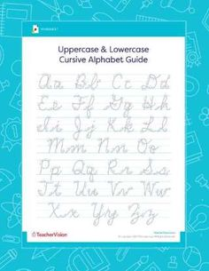 Help children learn and practice writing the alphabet using cursive letters with this printable worksheet featuring both a traditional uppercase and lowercase alphabet. Cursive Alphabet Chart, Uppercase Cursive, Cursive Writing Worksheets, Cursive Letters, Small Letters, Alphabet Worksheets, Lowercase A, Worksheets For Grade 3, Free Worksheets