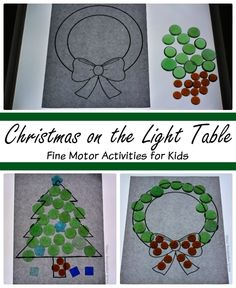 Christmas Fine Motor Activities on the Light Table! Holiday themed loose parts play for preschoolers! Includes free printable