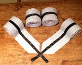horse polo wraps/bandages - set of 4 - custom made - light blue with black polka dot ribbon