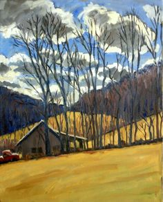 Autumn Clouds / Blue and Yellow Original Oil by wickstromstudio, $390.00