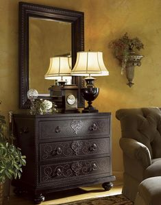 The Tortola Chest is elaborately decorated with tooled leather and nail head trim. Complete this look by hanging the Fairpoint Mirror above the Tortola Chest to create a beautiful focal point to any wall.