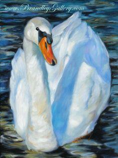 """""""The Swan"""" Original oil painting by Chris Brandley. www.BrandleyGallery.com"""