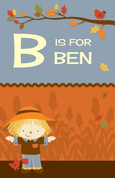 Scarecrow Fall Theme - Personalized Baby Shower Nursery Wall Art