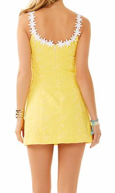 Lilly Pulitzer Annabelle Shift Dress in Sunglow Yellow Jumbo Sunflower Eyelet - love the detail in the back