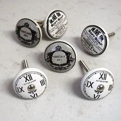 Juego de 6 gris blanco y negro relojes vintage shabby chic para puerta tiradores de pomos para muebles de diseño de rayas