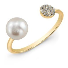 Anne Sisteron  14KT Yellow Gold Christina Pearl Diamond Disc Ring (£335) ❤ liked on Polyvore featuring jewelry, rings, gold, yellow gold rings, diamond jewellery, diamond rings, gold diamond jewelry and pearl jewellery